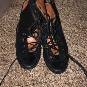 Free people lace up bootie heel